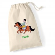 Medium Cotton Drawstring Bag (example Woody embroidery)